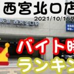 〇×西宮北口店のバイト・パート時給ランキングTOP10(10月15日付版)
