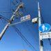 津門小学校の北側に防犯カメラが設置されてる。LED信号機も変わったばかりのところ